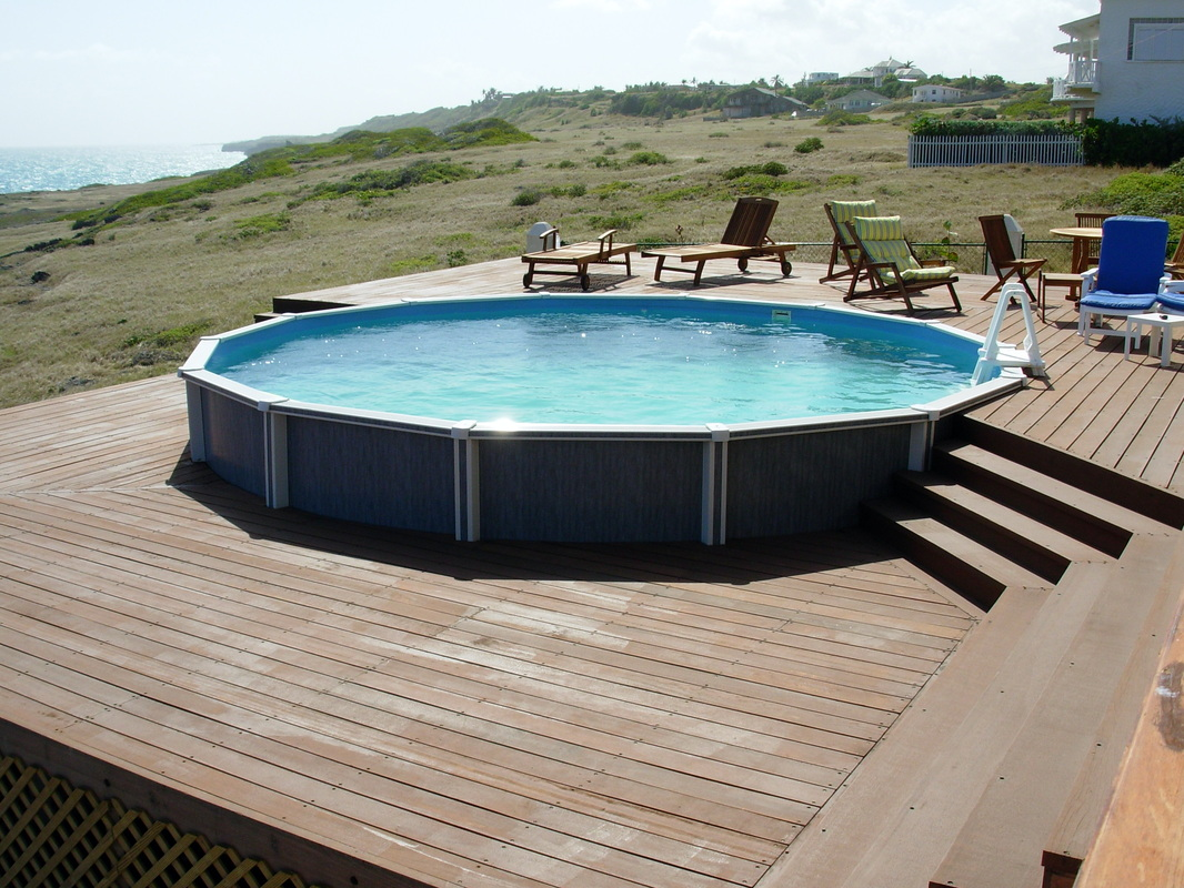 Above ground pools with decks above ground pool reviews for Above ground pool decks images